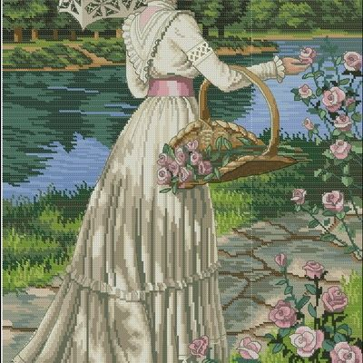 Вышивка крестом дама в саду